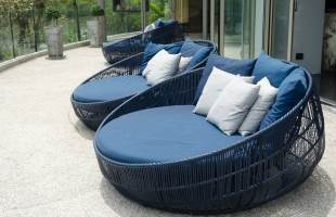 Wicker Beach Chairs and Circle Sun Loungers